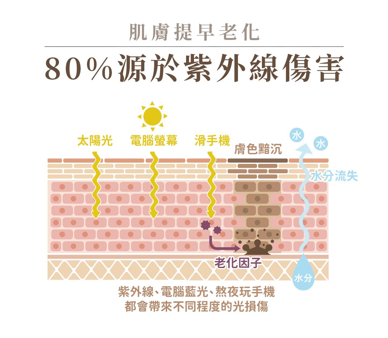 小花防曬能夠對抗紫外線造成的老化及曬黑的風險,保護肌膚不被曬傷曬紅