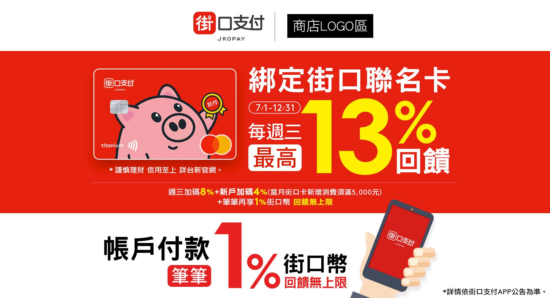 綁定街口聯名卡享最高13%回饋