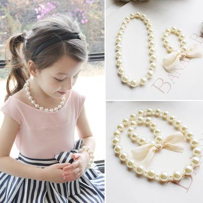 珍珠項鍊套組 項鍊手鍊組 五角星髮飾-1